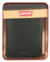 NEW LEVI'S MEN'S PREMIUM LEATHER CREDIT CARD ID WALLET BILLFOLD BLACK 31LV13C7