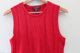 NWT LAUREN Ralph Lauren Red Linen Cotton Knit Sleeveless Sweater Vest M $100 image 4