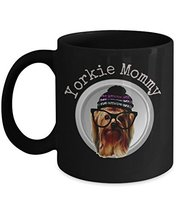 An item in the Home & Garden category: Yorkie Mom Mug With Cute Yorkshire Terrier Wearing Glasses Black Coffee Cup 11 o