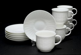 6 Wedgwood NANTUCKET Basket Weave Flat Cups and Saucers 12 Pieces - $57.10