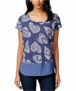 Maison Jules Womens Scoop Neck Printed Knit Top Medium M Blue Indigo $34 - $10.00