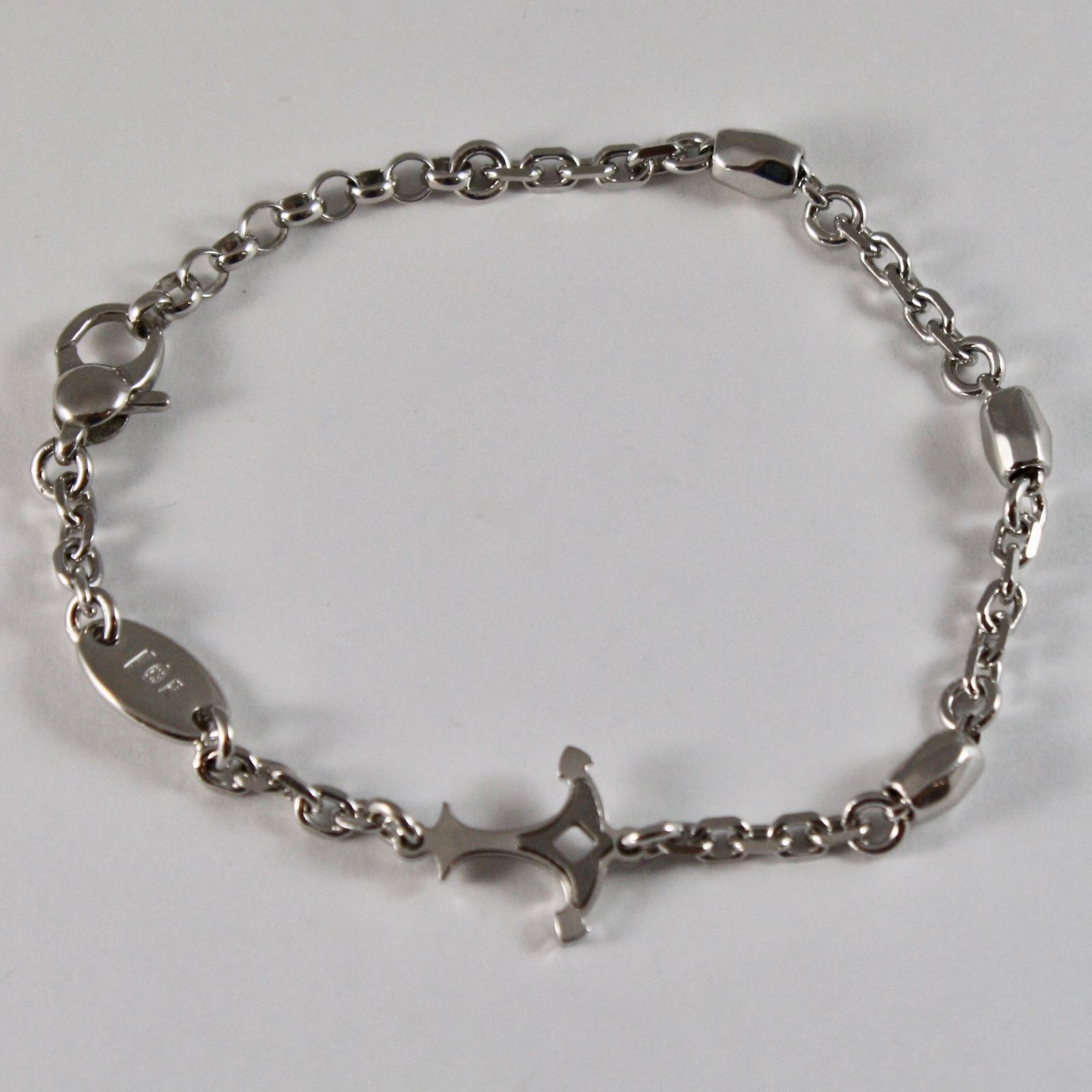 SILVER 925 BRACELET RHODIUM ADJUSTABLE WITH ANCHOR SHAPED LUCID AND SATIN