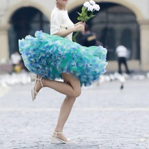 Women Girl Short Ruffle Layered Tulle Skirt Outfit Plus Size Tulle Holiday Skirt image 5