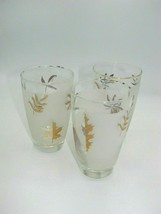 Set of 3 Vintage Retro Glassware Barware Frosted Gold Tumblers, Gold Lea... - $15.09