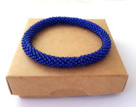 Nepal beaded rope bracelet roll it bangle royal blue wristband, gifts fo... - $8.00+