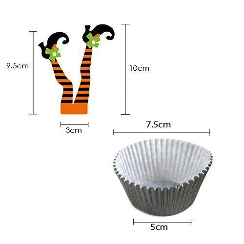 Halloween Witch's Boot Paper Cupcake Toppers Decorations Kit