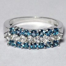 Natural Blue White Topaz 3 Rows Band Ring Jewelry Womens Sterling Silver... - $79.00