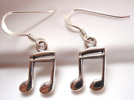 Musical Note Earrings 925 Sterling Silver Dangle Corona Sun Jewelry Eighth Note - $16.82