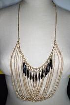 VTG Gold Tone Chain Link Black Faceted Plastic Rhinestone Dangle Bib Necklace - $33.66