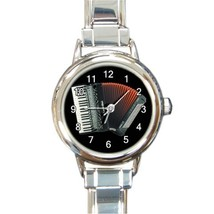 Ladies Round Italian Charm Watch Piano Accordion Music Gift model 30163768 - $11.99