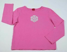 Target Girls Size Medium 7 8 Top Pink Shimmery Snowflake Shirt Long Sleeved - $9.89