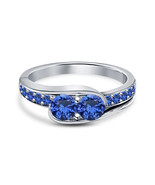 14k White Gold Finish 925 Sterling Silver Womens Blue Sapphire Engagemen... - $71.99