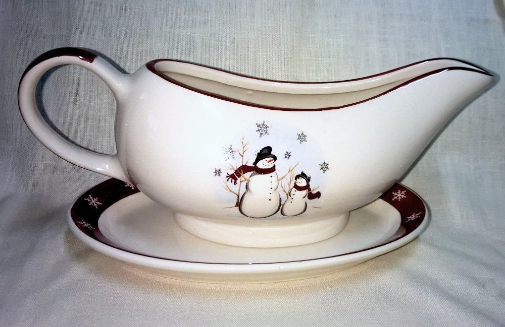 Royal Seasons Snowman Gravy Boat with Underplate