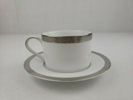 """Nikko Platinum Filigree Flat Cup 2.25"""" & 6"""" Saucer Set Beautiful - $9.00"""