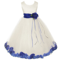 Ivory Satin Bodice Layers Tulle Skirt Royal Blue Flower Ribbon Brooch and Petals - $48.00