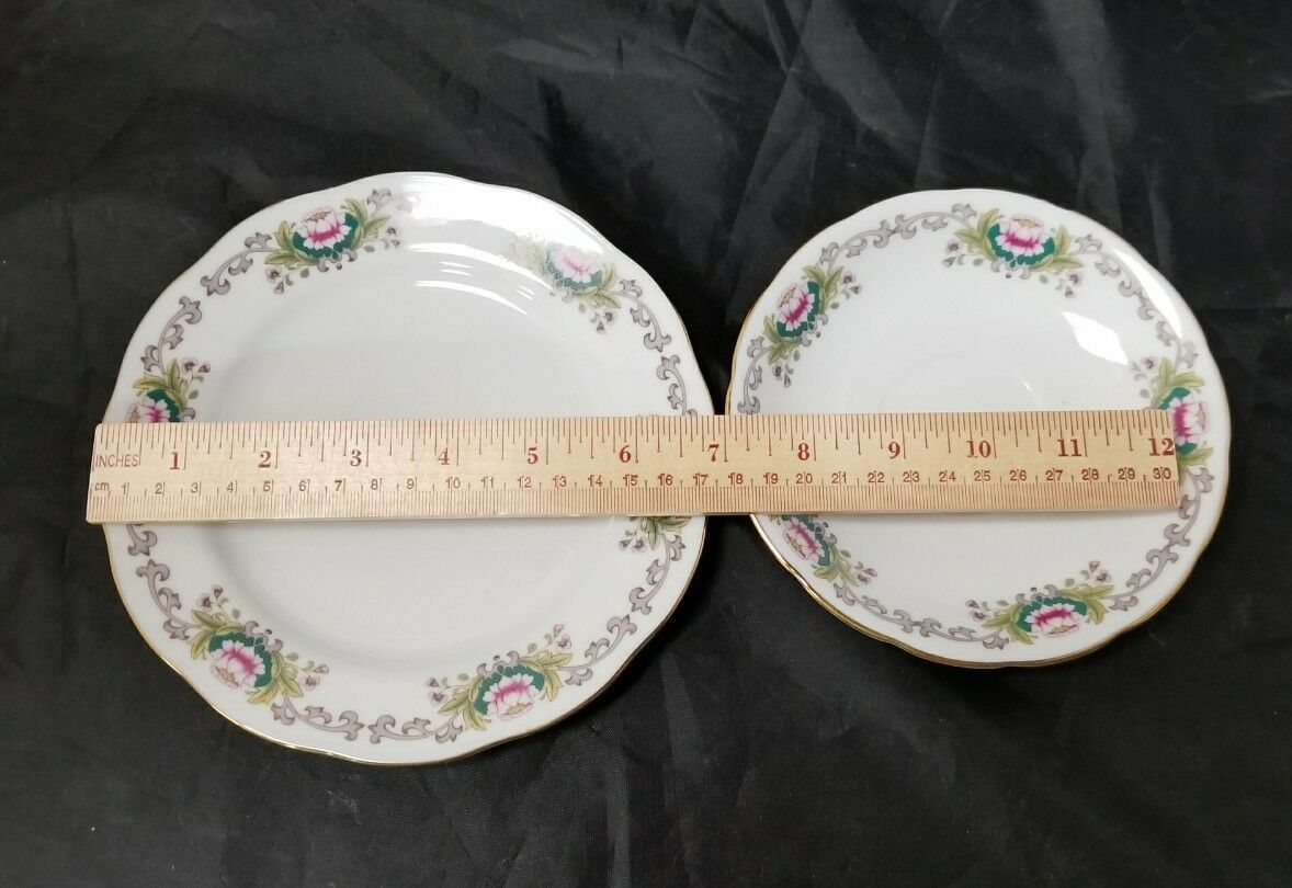 Chinese Fine Bone China Set of 32, 8 Each Soup Bowls, Cups, Saucers, Bread Plate image 11