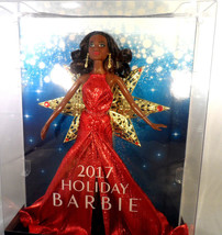 Barbie 2017 Holiday Christmas Collection Black Hair Red Dress Doll NIB - $18.37