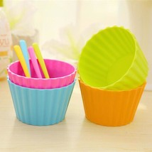 Dessert Cup Bright Color 4pcs Plastic Ice Cream Fruit Dessert Bowls Spoo... - $9.88