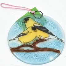 Goldfinch Yellow Finch Fused Art Glass Ornament Sun Catcher Handmade Ecuador image 1