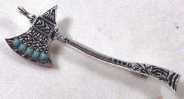 Silver tone with blue round beads Tomahawk pin brooch fashion - $16.63