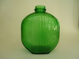 Vintage Duraglas Jar Green Glass Ribbed Jug PAT PNDG 1415 Tall Air Bubbles - $34.64