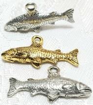 SALMON FISH FINE PEWTER PENDANT CHARM - 25mm L x 13mm W x 4.5mm D