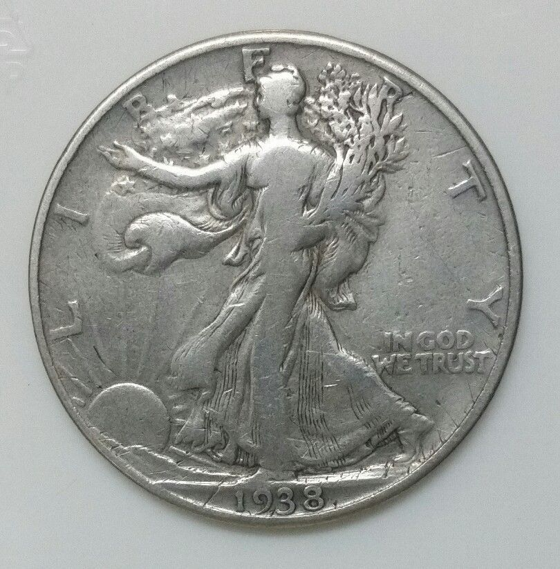 1938D Walking Liberty Half Dollar 90% Silver Coin Lot# E 35