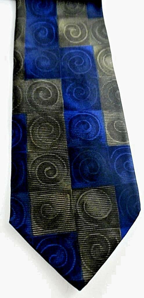 Geoffrey Beene Necktie Tie Silk Lot of 2 Black Blue Brown Geometric Swirls image 2