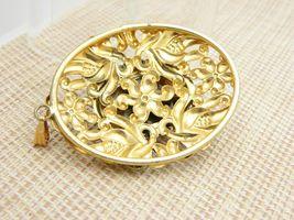 Tiger's Eye Gold Tone Repousse Necklace Pendant Vintage image 4
