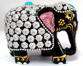 Wooden Elephant Handmade Statue Painted Figurine for Home Decor - $23.81
