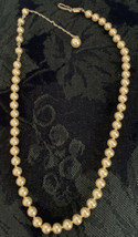 "Vintage Trifari Faux Pearl Necklace Silver Tone Finish 18"" - $12.86"