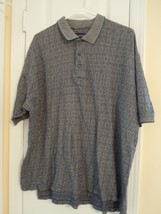 Men's Size L Short Sleeve Blue / Gray Golf Shirt 100% Cotton LOOKS GREAT - $5.93