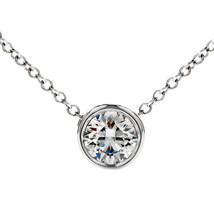 0.26 Ctw 14K W Gold Diamond Pendant By The Yard Bezel Solitaire Necklace Chain - $249.76+