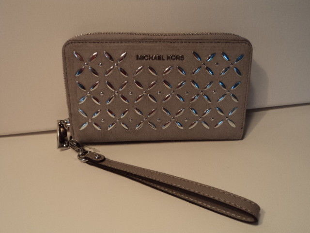 0520727be05f 57. 57. Previous. Michael Kors Large Flat Multifunction Phone Case Leather  Zip Wallet Pearl Grey