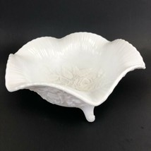 Vintage Satin Finish Milk Glass ~ Embossed Rose Design ~Footed Centerpie... - $17.90
