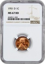 1951-D 1c NGC MS67 RD - Lincoln Cent - $242.50