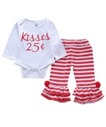 Newborn Toddler Baby Girls Clothes Tops Romper Ruffles Long Pants Stripe... - $12.39