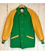 Delong Vintage Letterman Jacket Green Waxed Yellow Leather Sleeves Vinta... - $108.90