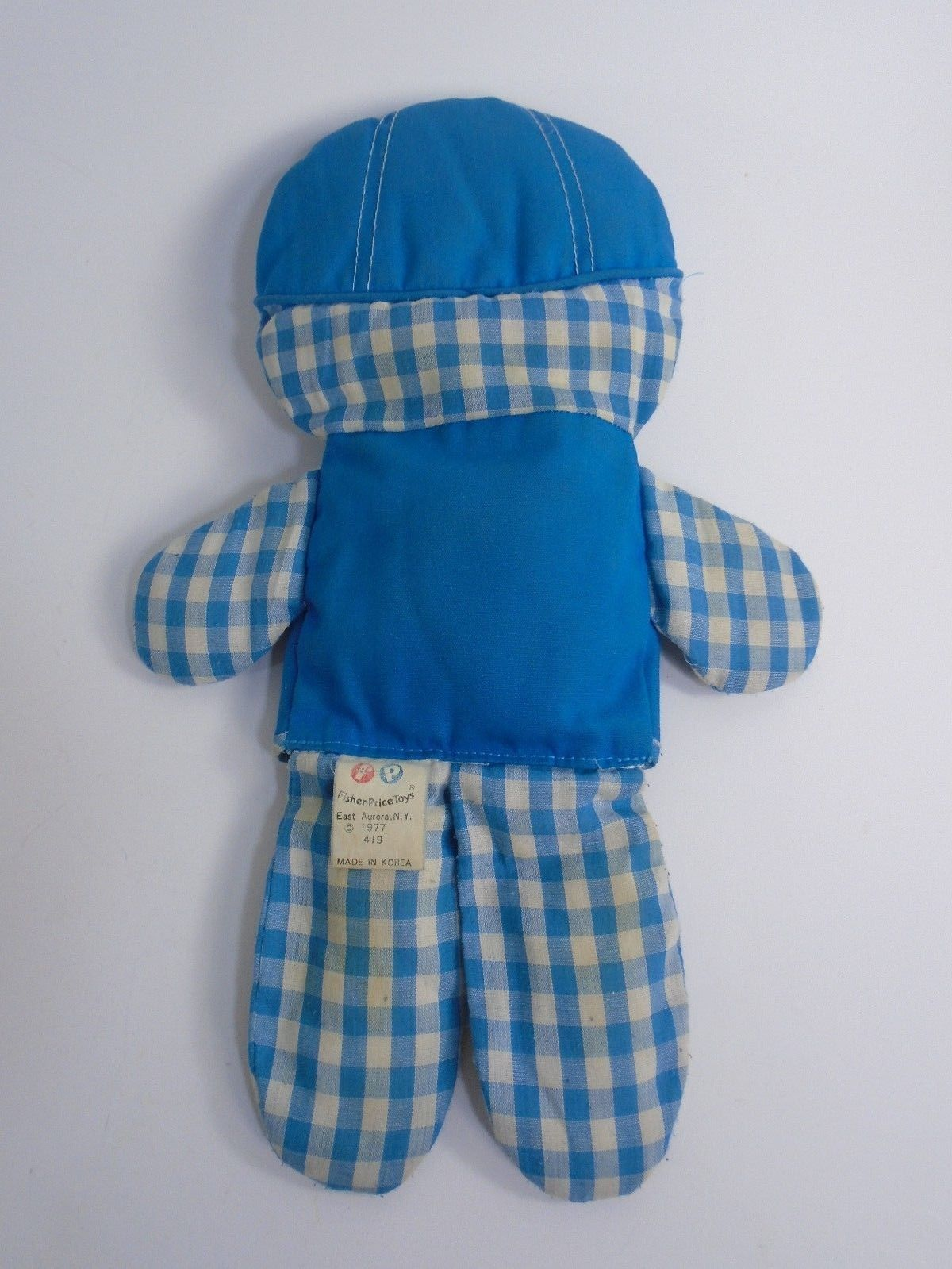 "FISHER PRICE 419 CHOLLY RATTLE DOLL BLUE GINGHAM 12"" 1977"