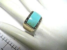 Vintage Sterling Silver Turquoise Ring Wide Band   Size 5.5 - $55.00