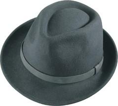 Henschel Wool Felt Fedora Leather Band WIth Loop Narrow Flip Brim Black  - $59.00