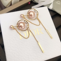 NEW AUTH Christian Dior 2019 DIOR TRIBALES ROSE PINK CD Logo Dangle Earrings  image 4