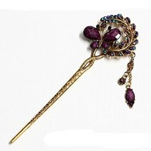 Chinese Traditional Metal Shinning Butterfly Ladies/ Girls Hair Stick, PURPLE