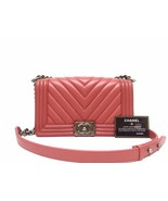 AUTHENTIC CHANEL 2018/2019 RED CHEVRON QUILTED CAVIAR MEDIUM BOY FLAP BA... - $4,199.99