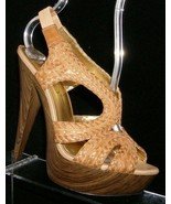 Jessica Simpson brown leather weave elastic slip on slingback platform h... - $31.24
