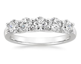 VVS/D Simulated Diamond Ring Wedding Band 14K White Gold Over 1 ct Trell... - $93.13