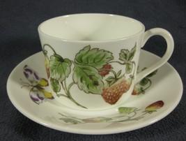 Coalport Strawberry Flat Cup & Saucer Set (Smooth) Bone China England Bu... - $17.95