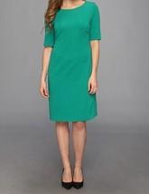 Anne Klein Dress Sz 2 Emerald Green Gold Zipper Stretch Career Cocktail ... - $19.71
