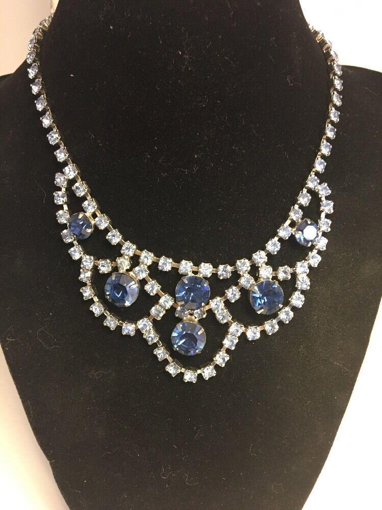 Vintage Blue Rhinestone Parure Necklace Bracelet Clip Earrings Silvertone