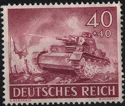 1943 WWII Tank Germany Postage Stamp Catalog Number B228 MNH
